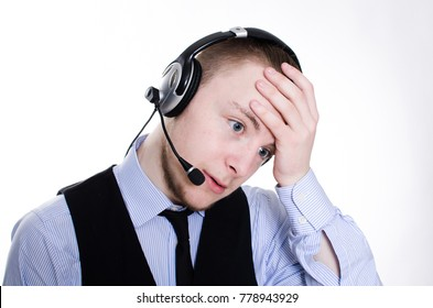 Tired call center operator