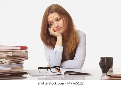 tired and exhausted   woman working with documents (psychological portrait, aggression, anger, frustration)