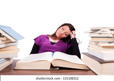 Tired female student have a problems with learning isolated on white. Selective focus on the female