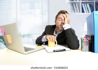 tired and frustrated businessman desperate face expression suffering stress worried with headache at computer desk heavy work load overwhelmed and stressed in exhausted office worker concept