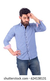 Tired handsome beard young man feeling sleep, sleepy guy wearing blue shirt and jeans isolated on white background