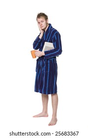 Tired man in a robe