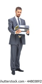 Tired  middle aged businessman  in suit with folder isolated on white background in profile