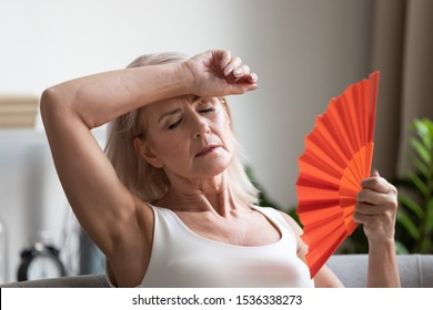 Tired overheated middle aged lady wave fan suffer from menopause exhaustion complain on heat at home, stressed old woman sweat feel uncomfortable hot in summer weather problem without air conditioner