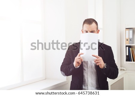 Tired Paperwork Businessman Hiding Face Blank Stock Photo