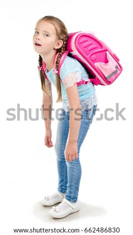 29844b3cc6ac Tired school girl child with heavy backpack isolated on a white background