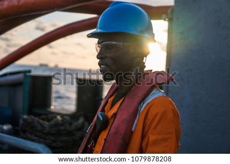 Tired Seaman AB Bosun On Deck Stock Photo (Edit Now