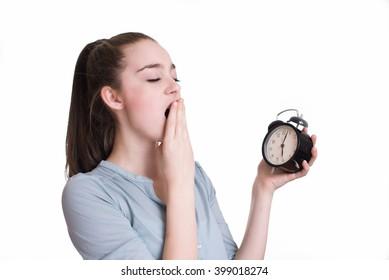 Tired sleepy woman yawning