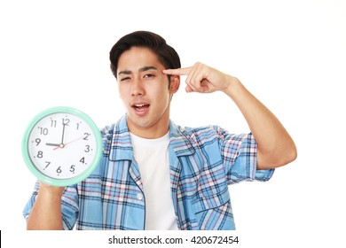 Tired and stressed Asian man