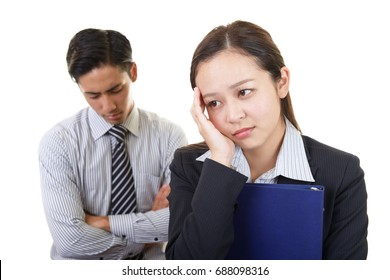 Tired and stressed office workers