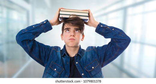 tired or stressed student with books or exams