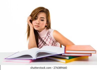 Tired student girl with books isolated on white background