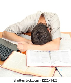 Tired Student sleeping on the School Desk. Isolated on the White Background