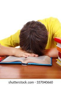 Tired Teenager Sleep on the School Desk on the White Background