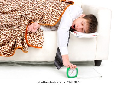 tired teenager sleeping