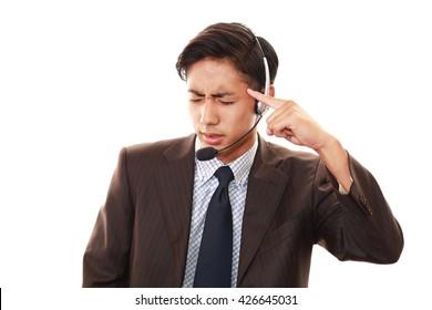 Tired telephone operator