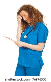 Tired or thinking doctor woman holding clipboard isolated on white background