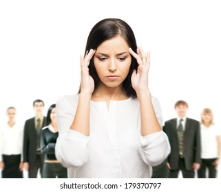 Tired and upset business woman in stress isolated on white