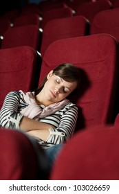 Tired woman  after the  movie