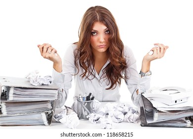 Tired woman with documents on her office