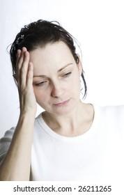 tired woman with headache
