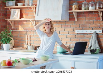 Tired woman from home office and housework / Stress at a working mother
