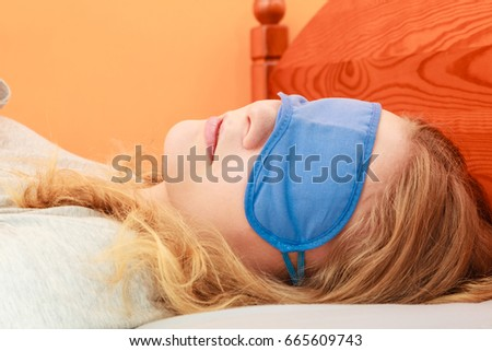 Tired Woman Sleeping In Bed Wearing Blindfold Sleep Mask Young Girl Taking Nap