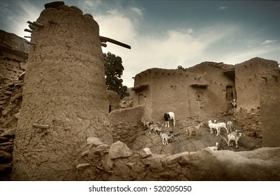 Tireli, Mali, Africa - January 30, 1992: Dogon village and typical mud buildings