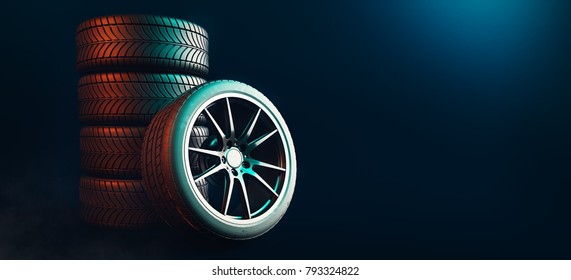 Tires 5 lines on a black background. 3d render and illustration.