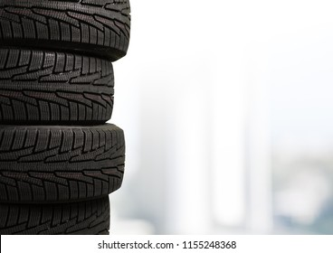 Tires black objects on background