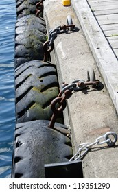 Tires chained to pier
