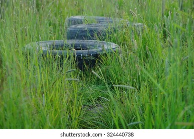 Tires and grass.