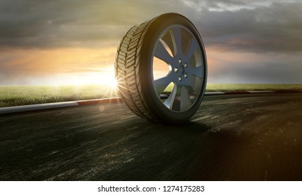 Tires on racing track (3D Rendering)
