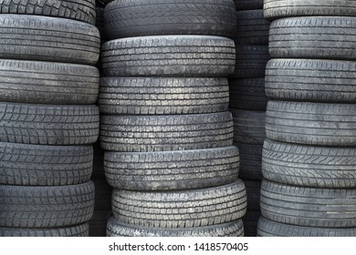 tires recycling rubber waste wheels stack pollution