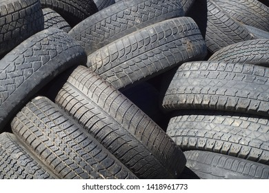 tires rubber recycling stack dump car waste