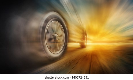 Tires is spin of speeding car with copy space. Low angle side view of car driving fast on motion blur