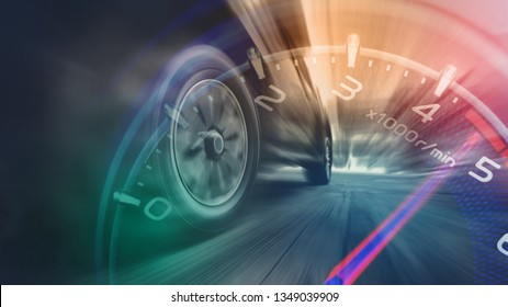 Tires is spin of speeding car with gauge. Low angle side view of car driving fast on motion blur