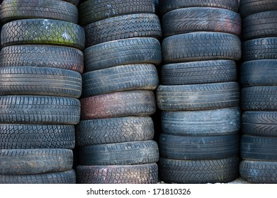 Tires stacked for storage