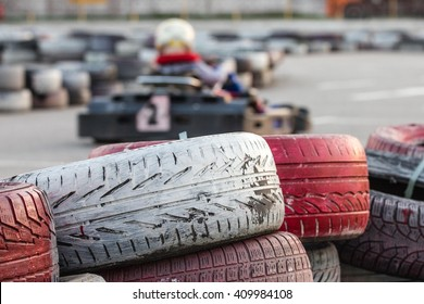 tires used for protection on a racing track