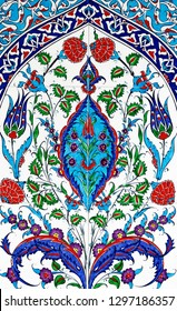 Tirkish patchwork tile flower ornamental vintage Islam Arabic ottoman, ceramic tiles abstract floral pattern from Turkey