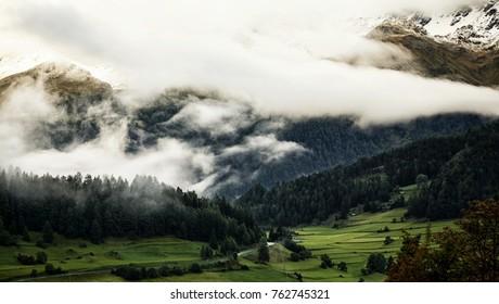 Tirol Alps Mountains Clouds Valley Nauders Austria