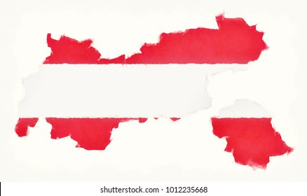 Tirol watercolor map with Austrian national flag in front of a white background