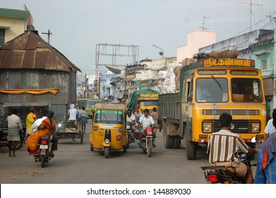 TIRUNELVELI, TAMIL NADU, INDIA, circa 2009: Streets crowded with traffic and pedestrians, circa 2009 in Tirunelveli, Tamil Nadu, India. India's population is more than 1.2 billion and growing.