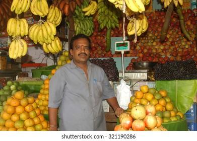 TIRUNELVELI, TAMIL NADU, INDIA, CIRCA 2009: fruit vendor in Tamil Nadu, South India