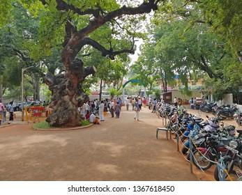 Tiruvanamalai, India - 15 december 2019: Ramana Ashram in Tiruvanamalai India