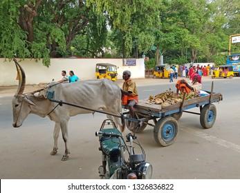 Tiruvanamalai, India -December 10, 2019: Street scene in Tiruvanamalai in India