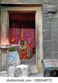 Tiruvanamalai, India - December 11, 2018: Inside the Arunachaleswara temple at the Patala lingam where Ramana Maharshi first stayed.