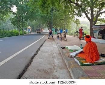 Tiruvanamalai, India -December 11, 2019: Street scene in Tiruvanamalai in India