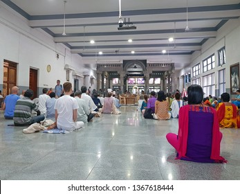 Tiruvanamalai, India - December 14, 2018: The new hall in the Ramana Maharshi Ashram in Tiruvanamalai India