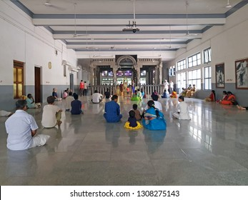 Tiruvanamalai, India - December 8, 2018: The new hall in the Ramana Maharshi Ashram in Tiruvanamalai India